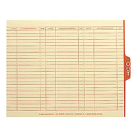 Smead 61910 9 1/2 inch x 12 1/4 inch Manila / Red Charge-Out Guide with 1/5 Side Tab, Letter   - 100/Box