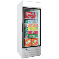Nor-Lake NLGRP27-HG-W AdvantEDGE 30 inch White Swing Glass Door Refrigerated Merchandiser with LED Lighting - 25 Cu. Ft.