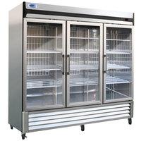 Nor-Lake NLR72-G AdvantEDGE 78 inch Three Glass Door Reach-In Refrigerator - 72 Cu. Ft.
