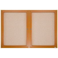 Aarco OBC3660R 36 inch x 30 inch Enclosed Indoor Hinged Locking 2 Door Bulletin Board with Natural Oak Frame