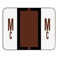 Smead 67097 1 1/4 inch x 1 inch Alpha-Z Color-Coded Brown Letters Mc Name Filing Label - 500/Roll