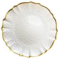 The Jay Companies 13 inch Pearl Ice Queen Glass Charger Plate with Gold Trim