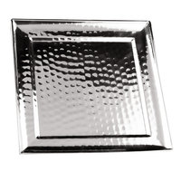 Clipper Mill by GET SSTPD-11 11 inch Stainless Steel Square Tray with Pounded Finish