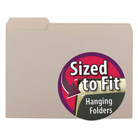 Smead 10251 Letter Size File Folder - Interior Height with 1/3 Cut Assorted Tab, Gray - 100/Box