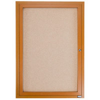 Aarco OBC3630R 36 inch x 30 inch Enclosed Indoor Hinged Locking 1 Door Bulletin Board with Natural Oak Frame