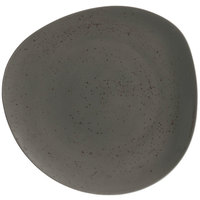 Schonwald 938122663044 Pottery 10 1/2 inch Unique Dark Gray Organic Porcelain Plate - 6/Case