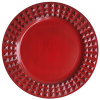 The Jay Companies 1270428-RD 13 inch Round Red Antiqued Melamine Charger Plate