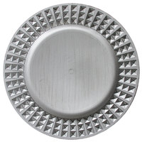The Jay Companies 1270428-SI 13 inch Round Silver Antiqued Melamine Charger Plate