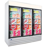 Nor-Lake NLGRP74-HG-W AdvantEDGE 78 inch White Swing Glass Door Refrigerated Merchandiser with LED Lighting - 70.2 Cu. Ft.