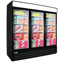 Nor-Lake NLGRP74-HG-B AdvantEDGE 78 inch Black Swing Glass Door Refrigerated Merchandiser with LED Lighting - 70.2 Cu. Ft.