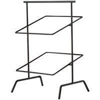 Clipper Mill by GET IR-703B POP 12 inch Black Powder Coated Iron Square 2-Tier Basket Stand