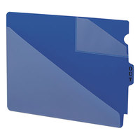 Smead 61961 9 1/2 inch x 12 3/4 inch Blue Poly Out Guide with Diagonal-Cut Pockets, Letter   - 50/Box