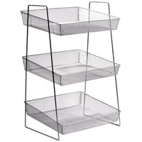 Clipper Mill by GET WB1-3TIER POP 15 3/4 inch x 13 1/2 inch Silver Chrome Plated Iron Mesh 3-Tier Wire Basket Stand