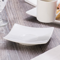 Schonwald 9137010 Fine Dining 4 3/4 inch Square Continental White Porcelain Saucer - 12/Case