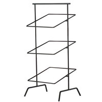 Clipper Mill by GET IR-704B POP 12 inch Black Powder Coated Iron Square 3-Tier Basket Stand