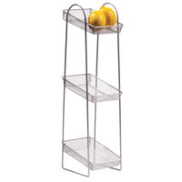 Clipper Mill by GET WB2-3TIER POP 8 inch x 6 inch Silver Chrome Plated Iron Mesh 3-Tier Wire Basket Stand