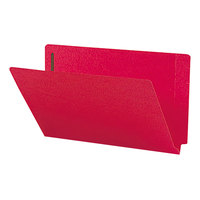 Smead 28740 Shelf-Master Legal Size Fastener Folder with 2 Fasteners - Straight Cut End Tab, Red - 50/Box