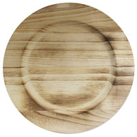 The Jay Companies 13 inch Natural Fired Paulownia Faux Wood Charger Plate