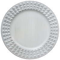 The Jay Companies 1270428 13 inch Round White Antiqued Melamine Charger Plate