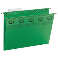 Smead 64042 8 1/2 inch x 11 inch Green 1/3 Cut Tab Tuff Hanging Folder with Easy Slide Tab - Letter - 18/Box