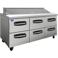 Nor-Lake NLSP72-18-001 AdvantEDGE 72 3/8 inch 6 Drawer Refrigerated Sandwich Prep Table