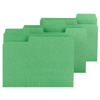 Smead 11985 SuperTab Letter Size File Folder - Standard Height with 1/3 Cut Assorted Tab, Green - 100/Box