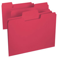 Smead 11983 SuperTab Letter Size File Folder - Standard Height with 1/3 Cut Assorted Tab, Red - 100/Box