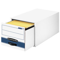 Fellowes 00311 Banker's Box Stor/Drawer Steel Plus 25 1/2 inch x 14 inch x 11 1/2 inch White Letter/Legal Sized File Storage Box with Steel Frame - 6/Case