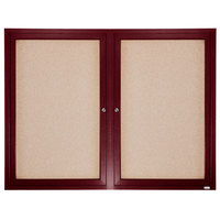 Aarco CBC4860R 48 inch x 60 inch Enclosed Indoor Hinged Locking 2 Door Bulletin Board with Cherry Frame