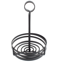Choice Black Flat Coil Round Wrought Iron Condiment Caddy - 6 inch x 9 1/2 inch