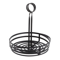 Choice Black Flat Coil Round Wrought Iron Condiment Caddy - 8 inch x 9 1/2 inch