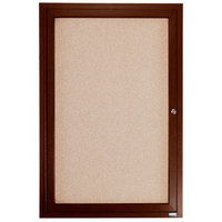 Aarco WBC3624R 36 inch x 24 inch Enclosed Hinged Locking 1 Door Bulletin Board with Walnut Finish