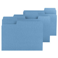 Smead 11986 SuperTab Letter Size File Folder - Standard Height with 1/3 Cut Assorted Tab, Blue - 100/Box