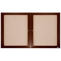 Aarco WBC3672R 36 inch x 72 inch Enclosed Hinged Locking 2 Door Bulletin Board with Walnut Finish
