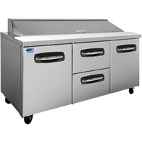 Nor-Lake NLSP72-18-004 AdvantEDGE 72 3/8 inch 2 Door 2 Drawer Refrigerated Sandwich Prep Table