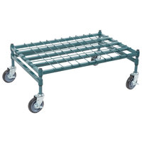 Regency 24 inch x 36 inch Heavy-Duty Mobile Green Dunnage Rack with Mat