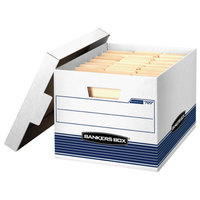 Fellowes 00789 Banker's Box 12 3/4 inch x 16 1/2 inch x 10 1/2 inch White Letter/Legal Sized File Storage Box with Lift-Off Lid - 12/Case