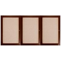 Aarco WBC4896-3R 48 inch x 96 inch Enclosed Hinged Locking 3 Door Bulletin Board with Walnut Finish