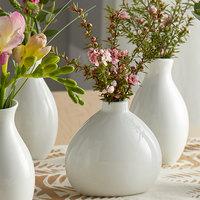 Acopa 3 1/4 inch Bright White Porcelain Bulb Bud Vase