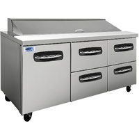 Nor-Lake NLSP72-18-006 AdvantEDGE 72 3/8 inch 1 Door 4 Drawer Refrigerated Sandwich Prep Table