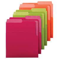 Smead 75406 Organized Up Heavyweight Letter Size Vertical File Folder - Dual Tab, Assorted Bright Colors - 6/Pack