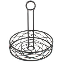 Choice Black Round Birdnest Wrought Iron Condiment Caddy - 8 inch x 9 1/2 inch