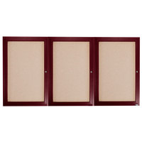 Aarco CBC3672-3R 36 inch x 72 inch Enclosed Indoor Hinged Locking 3 Door Bulletin Board with Cherry Frame