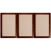 Aarco WBC3672-3R 36 inch x 72 inch Enclosed Hinged Locking 3 Door Bulletin Board with Walnut Finish