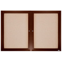 Aarco WBC4872R 48 inch x 72 inch Enclosed Hinged Locking 2 Door Bulletin Board with Walnut Finish