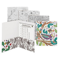 Smead 87951 Letter Size Coloring 2-Pocket Paper Pocket Folder - Florals, Nature, Birds, and Geometric - 12/Pack