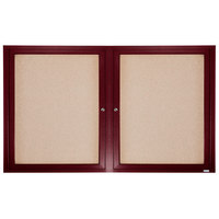 Aarco CBC3672R 36 inch x 72 inch Enclosed Indoor Hinged Locking 2 Door Bulletin Board with Cherry Frame