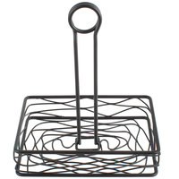 Choice Black Rectangular Birdnest Wrought Iron Condiment Caddy - 8 inch x 6 inch x 9 1/2 inch