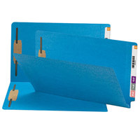 Smead 28040 Shelf-Master Legal Size Fastener Folder with 2 Fasteners - Straight Cut End Tab, Blue - 50/Box