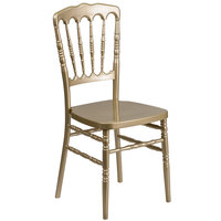 Flash Furniture LE-L-8-GD-GG Hercules Gold Napoleon Chiavari Resin Stacking Chair with Metal Core Leg Tubing